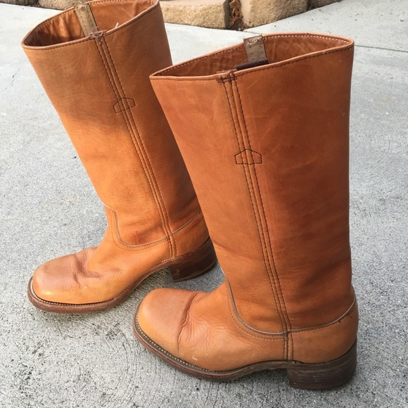 faca0e5928e74 Vintage Frye brown tan leather boots size 7D USA